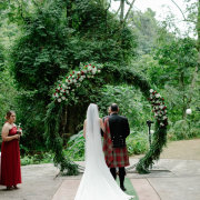 bride and groom, bride and groom, floral arch