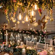 hanging decor, naked bulbs, wedding decor