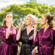 bride and bridesmaids, champagne, dressing gowns