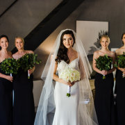 bride and bridesmaids, veil, wedding dresses, wedding dresses