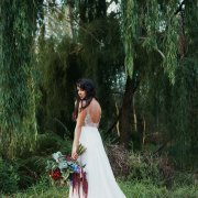 bouquet, bride, dress