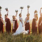 bridesmaids dressses, red