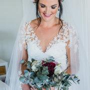 bouquet, makeup, wedding dress