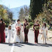 bride and bridesmaids, flower girls