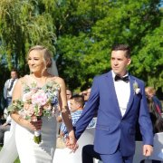 bouquets, bride and groom, bride and groom, suits