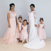 bride, bridesmaids, bridesmaids, flower girls
