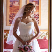 wedding dress, bouquet, protea