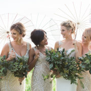 beaded, bouquets, bridesmaids dresses, green, parasol