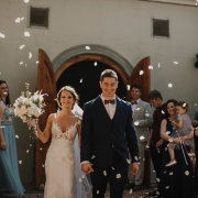 bride and groom, bride and groom, confetti, suits, wedding dresses, wedding dresses