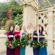 bouquets, bride and bridesmaids