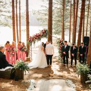 floral arch, forest ceremony