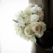 bouquet, roses, white