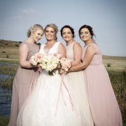 blush, bride, bridesmaids, pink, white