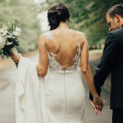 bride, groom, lace