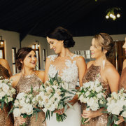 bouquet, bride and bridesmaids