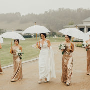 bride and bridesmaids, umbrellas