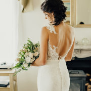 bouquet, bride, dress, lace
