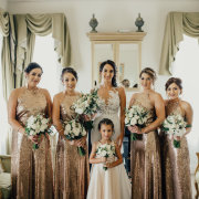 bride and bridesmaids, flower girl