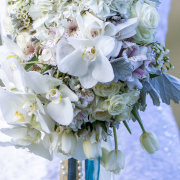 bridal bouquet, orchids, pearls, white tulips