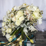 bouquet, pearls, white roses, white tulips