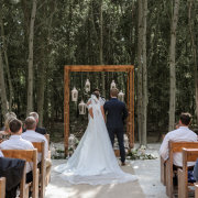 arch, forest, outside ceremony