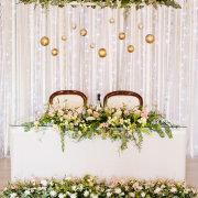 floral decor, hanging decor, main table, wedding decor