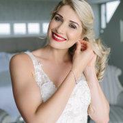 bride, getting ready gown, hair