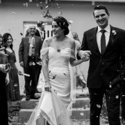 bride and groom, bride and groom, confetti, leaves, wedding dresses, wedding dresses